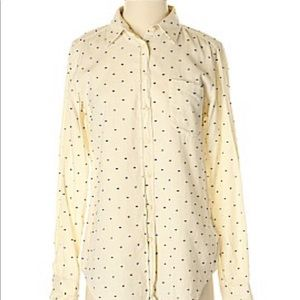 Fossil beige and navy polka dot button down blouse
